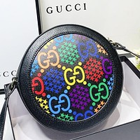 Hipgirls GUCCI New fashion multicolor more letter print round shoulder bag crossbody bag Black