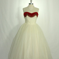 1950's Vintage Wedding Dress - Party Prom Ivory Tulle Princess Dream - Strapless Red Velvet Beaded Sweetheart Bodice Ball Gown