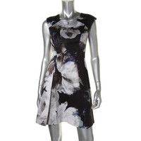 Milly Womens Printed Pleated Cocktail Dress