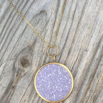 Lavender Druzy Cluster Pendant - Purple Druzy  Necklace - Druzy Jewelry - Personalized Jewelry - Gift for Her - Bridesmaid Gift - Gift
