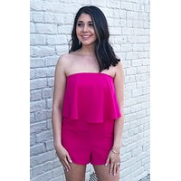 Strapless Romper with Pockets in Pink