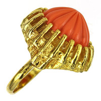 1960s Vintage Ring, Molded Glass Cocktail Ring, Coral Orange, Free Shipping