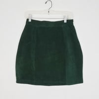 S Vintage Suede Leather Mini Skirt Dark Green Hunter Moss Forest Green High Waist Above Knee Mini Length 80s 90s Fashion