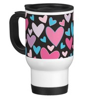 Cute Girly Blue Pink and Purple Hearts Pattern Travel Mug- Cute coffee mugs, girly mugs, Valentine's Day gift for girls, for teens