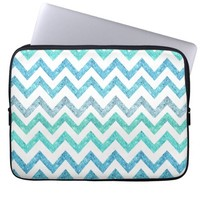 Girly Summer Sea Teal Turquoise Glitter Chevron