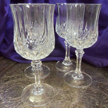 Cristal d'Arques Longchamp Wine Goblets, Set of Four, 24% PbO, Elegant Leaded Glass Toasting Goblets, Vintage Barware, Fine Dining