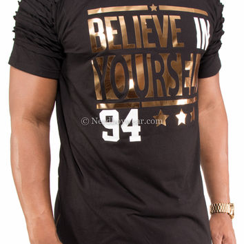 """""""Believe in Yourself"""" Distressed Gold Foil Extended Zipper Shirt"""