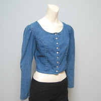 Vintage 1990's Guess Jeans Long Sleeve Denim Crop Top with Scoop Neck, Puffy Sleeves and Pearl Snaps  - Size Small