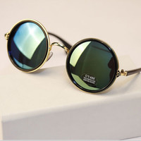Vintage Steampunk Round Sunglasses Women Metal Mercury Reflective Circle Sunglass Retro Points Men Brand Sun Glasses oculos 5201