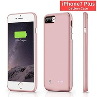 iphone 7plus battery case,CHYING iPhone Portable Charger iPhone 7 plus (5.5 inch) 4880mAh Extended Battery Pack Power Cases (Build-in Magnet Design) [PINK]