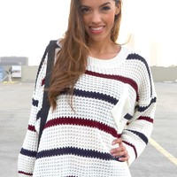Striped Slouch Sweater - Creme   Shop Civilized