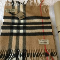BURBERRY GIANT CAMEL  CHECK 100% CASHMERE SCARF BNWT & TUBE 100% GENUINE UNISEX