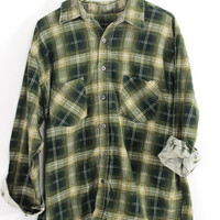 Faded Forest Green and Light Green Plaid Sunwashed Flannel Shirt Size L - Cuff N Roll