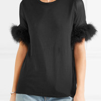 CLU - Faux fur and silk organza-trimmed cotton and modal-blend top