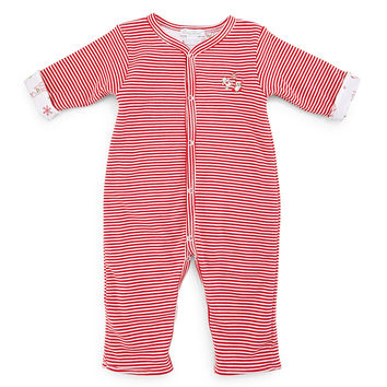 Yuletide Reversible Pima Coverall, Red, Size 3-18 Months, Size: