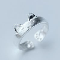 Vintage 925 Sterling Silver Cute Cat Open Ring Adjustable Gift -156