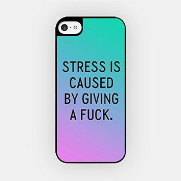 for iPhone 6/6S - High Quality TPU Plastic Case - Stress Is Caused By Giving A Fuck - Sassy Quote - Ombre