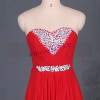 Long red chiffon prom dress with rhinestones,inexpensive bridesmaid gowns on sale,2015 elegant women dresses for holiday party.