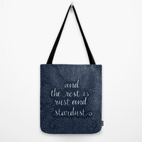"""Tote Bag """"and the rest is rust and stardust"""",Canvas Bag,Book Bag,Gift,Lolita Quote,Polka Dot,Large Tote,Reusable Bag,Grocery Bag,16x16,20x20"""