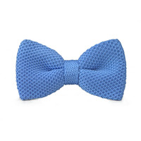 Men's Fashion Bow tie Blue Knitting Adjustable Wool Bow tie For Wedding Party Business