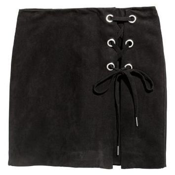 Skirt with Lacing - Black - Ladies | H&M CA