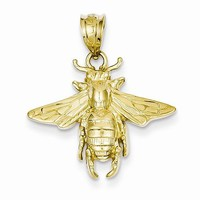 14k Gold Solid Open-Backed Bee Pendant
