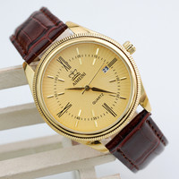 Hot selling men watches top brand luxury military quartz watch casual calendar leather strap wristwatches relogio masculine gold