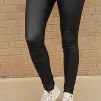 Straight Out Your Mom's Closet Leggings - Faux Leather