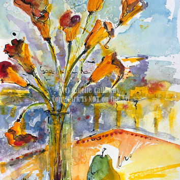 Calla Lilies Still Life Original Watercolor & Ink 24 by 18 inch by Ginette