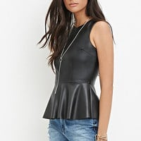 Faux Leather Peplum Top