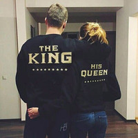 The King and His Queen Love Matching Couple Sweatshirts