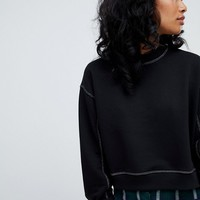 Pull&bear contrast stitch sweat top in black at asos.com