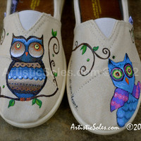 Owl Always Love You Custom Hand Painted Canvas Youth TOMS