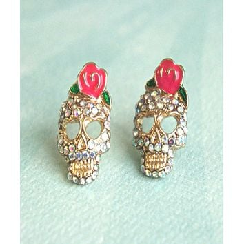 Sugar Skull Stud Earrings