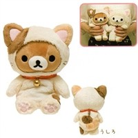 San-X Rilakku Cat 7.5'' Relax Bear as a Calico Cat