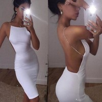 Backless Solid Color Strap Bodycon Maxi Dress