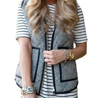 Vintage Women's Slim Fall Quilted Herringbone Puffer Vest with Zipper