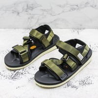 Suicoke Black Olive KISEE-V Vibram Sole Antibacterial Upper Slipper Slider Sandals - Best Deal Online