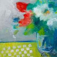 "Abstract Floral, Original Acrylic Still Life Painting, Colorful, Light, ""Light Morning Bouquet"" 8x8"""