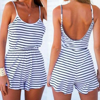 Striped Backless Spaghetti Strap Romper