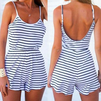Blue and White Stripe Summer Romper
