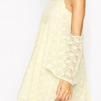 Apricot Skater Dress in Lace with Cold Shoulder and Flared Sleeves