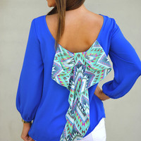 I Love You So Blouse: Royal Blue/Multi | Hope's