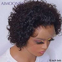 Short Pixie Cut Wig Short Bob 150% 13*4  Lace Front Human Hair Wig For Black Women Pre Plucked With Baby Hair Natural Remy