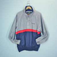 Vintage 80s Mens Windbreaker Jacket / Breckenridge Ski Jacket / Colorblock Wind Breaker / XL