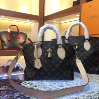 LV Louis Vuitton MONOGRAM CANVAS FLOWER HANDBAG SHOULDER BAG