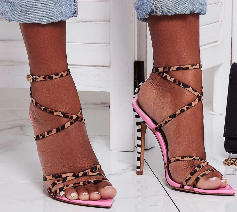 Image of Hot style hot leopard print matching sexy pointy heels