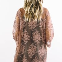 Dance With You Rust Embroidered Lace Cardigan