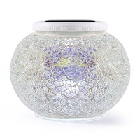 ICOCO Solar Powered Mosaic Glass Ball Garden Lights, Waterproof 4-Colors Changing Solar Table Lamp For Christmas Home Office Patio Party Decor Gift (Type C)