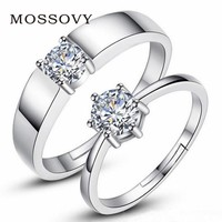 Mossovy Zircon Adjustable Silver Couple Rings Wedding Ring for Women and Men Engagement Ring Men Bague Femme Anillos Mujer Aneis